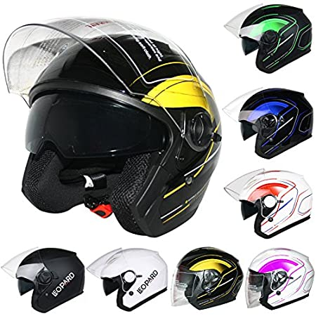 Leopard LEO-608 Double Sun Visor Open Face Motorbike Motorcycle Helmet Road Legal - Graphic Blue L (59-60cm) Touch Global Ltd