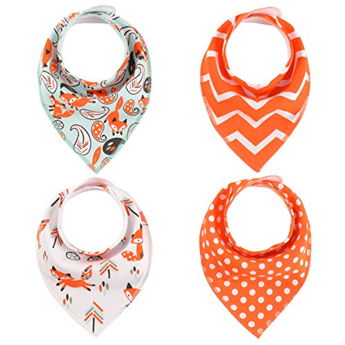 Baby Bandana Drool Bibs Organic with Snaps for Drooling and Teething, Fanbiz 4 Pack Bibs for Toddlers,Baby Bibs Set, Bibs and Burp Cloths,Baby Gift Set for Newborn(Orange#2)