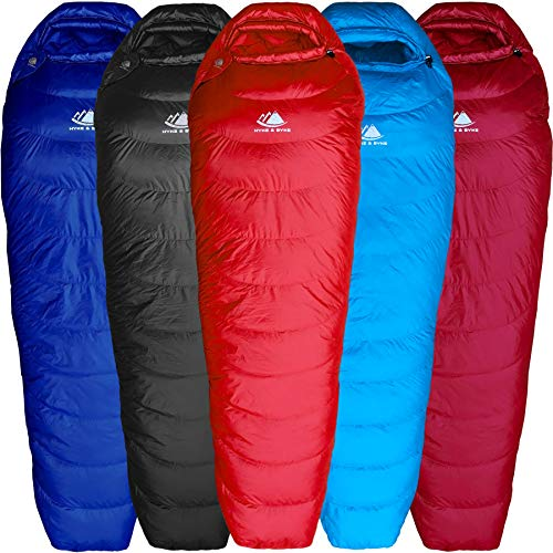 (Hyke & Byke Shavano 32 Degree F 650 Fill Power Hydrophobic Down Sleeping Bag with Allied LofTech Base - Ultra Lightweight Men's and Women's Mummy Bag Designed for Summer Backpacking)