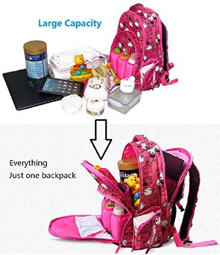 Bolsa de pañales para bebés - Organizador inteligente Mochila de pañales de gran capacidad con 3 bolsillos aislados