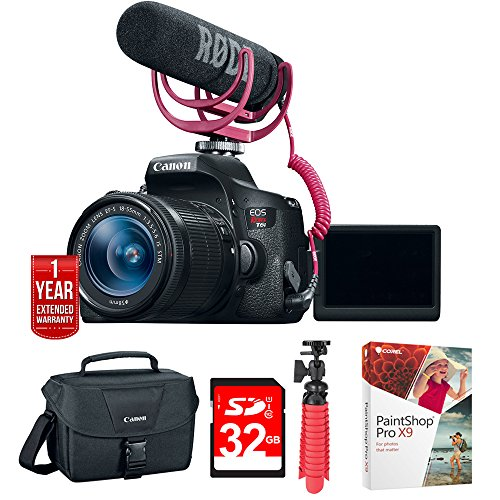 "Canon EOS Rebel T6i Video Creator Kit w/ Lens, Rode Video Mic (0591C024) w/ 32GB Deluxe Bundle Includes, EOS DSLR Camera Gadget Bag + 12"" Rubberized Spider Tripod + 32GB SDHC Class 10 Memory Card by Canon"