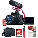"""Canon EOS Rebel T6i Video Creator Kit w/ Lens, Rode Video Mic (0591C024) w/ 32GB Deluxe Bundle Includes, EOS DSLR Camera Gadget Bag + 12"""" Rubberized Spider Tripod + 32GB SDHC Class 10 Memory Card"""