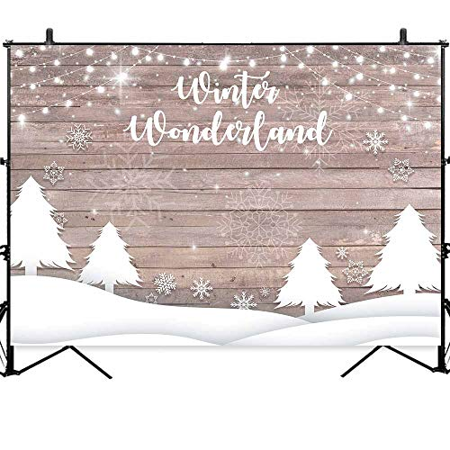 Allenjoy 7x5ft Winter Wonderland Christmas Baby Shower Backdrop Xmas Party Decorations Snowflake Snow Wood Wall Baby Shower Birthday Background Photobooth Props