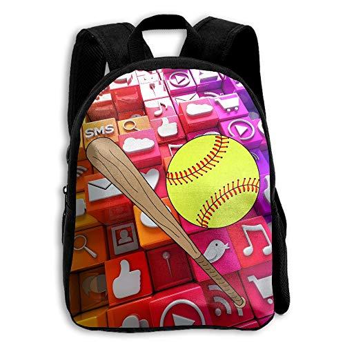 FIDALJF Softball Baseball Bat Children's Backpack Little Kid School Bag with Adjustable Shoulders Ergonomic Back Pad Perfect for School, Security, Sporting Events