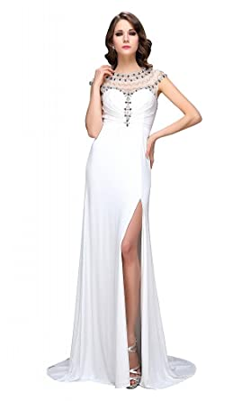 Festamo Long Floor Length Evening Dresses Prom Dresses Ball Dresses - White -