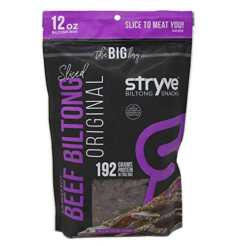 Stryve Keto Protein Snack | Air Dried 100% Beef Biltong | Lighter than Jerky | 16g Protein | 0g Sugar | Low Carb No Fat | No Gluten No Soy | Original | 12 Ounce The Big Bag