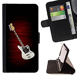 DEVIL CASE - FOR Apple Iphone 6 - Electric Guitar Minimalist B W - Style PU Leather Case Wallet Flip Stand Flap Closure Cover
