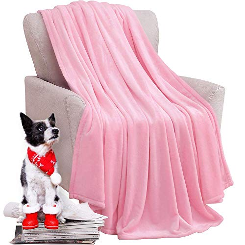 (KAWAHOME Fleece Blanket Lightweight Fuzzy Microfiber Throw Blankets All Season for Bed Couch Sofa Throw Size 50 X 60 Inches Pink)