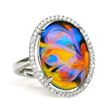 Fun Jewels Oval Crystal Opalescent Swirl Color Change Stone Brass Mood Ring Size Adjustable