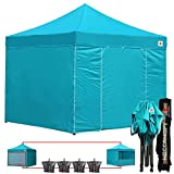 (18+ colors)AbcCanopy Commercial 10×10 Ez Pop up Canopy, Party Tent, Fair Gazebo with 6 Zipped End Sidewalls and Roller Bag Bonus 4x Weight Bag (turquoise) Review