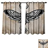 RuppertTextile Fantasy Blackout Curtains Panels for Bedroom Dead Head Hawk Moth with Luna