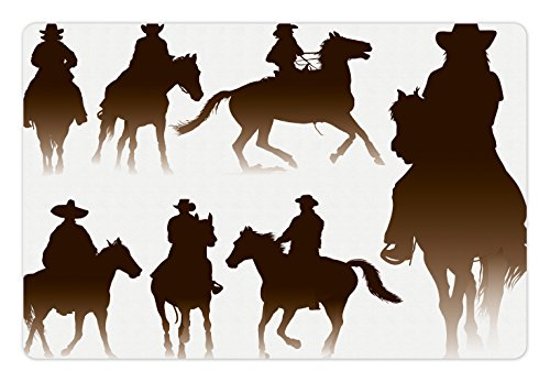Western Pet Mats for Food and Water by Lunarable, Collection of Horseback Riding Silhouettes Bridle Ranch Stallion Equestrian Theme, Rectangle Non-Slip Rubber Mat for Dogs and Cats, Dark Brown (Ranch Silhouette)
