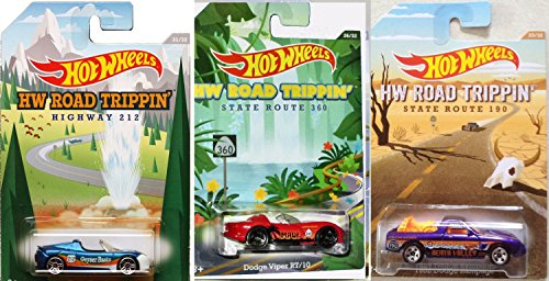 Tesla Roadster Road Trippin' 2015 Hot Wheels Exclusive cars Dodge Viper RT/10 Convertible & 1982 Dodge Rampage pickup Death Valley Geyser Basin
