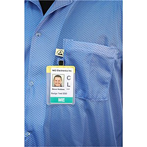 DESCO 73760 Nylon Fabric Blue Statshield Smock Jacket with Knitted Cuffs Large ASK-34400