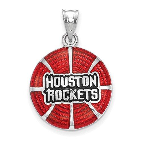 925 Sterling Silver Rhodium-plated LogoArt NBA Houston Rockets Basketball Enameled Charm Pendant (Houston Rockets Charm)