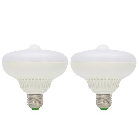 2X E27 Detección de Movimiento Luz LED 12W Sensor de Movimiento Bombilla Blanco Frío 6500K Super
