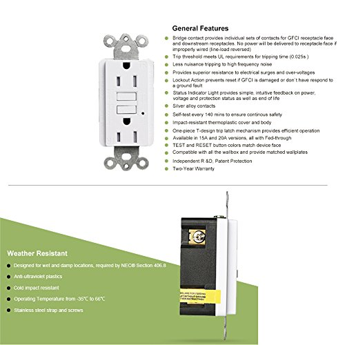 GFCI Wall Outlet 20Amp / 15Amp Safety Leakage Protection Socket Pack of 2 or 5 (5, 20A without safety door) by ThreeCat (Image #6)