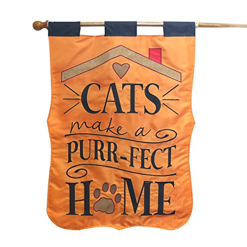 LAYOER Garden Flag 28 x 40 Inch Cat's Home Double-Sided Applique Decorative Outdoor Yard