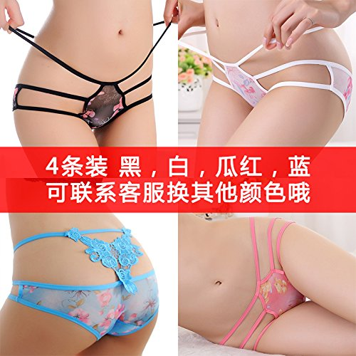 HHY-G-string de encaje transparente señoras cintura bajo la ropa interior,F,O17M556 4, blanco y negro, rosado y morado O17M556 4 black and white melon, red and blue