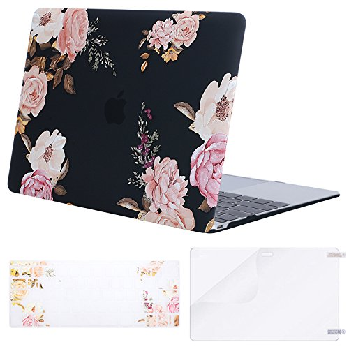 MOSISO Plastic Pattern Hard Case & Keyboard Cover & Screen Protector Compatible MacBook 12 Inch with Retina Display A1534 (Newest Version 2017/2016/2015), Peony on Transparent Black Base