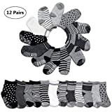 Yimaler 12-Pack Cotton Socks for Toddler Boys Girls Anti-Slip Ankle Socks for Baby Walkers Non-Skip Stretch Knit Stripes Star Assorted Cotton Socks with Grip for 16-36 Months