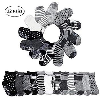 12 Pairs//Set Baby Socks Non Skid Anti Slip Knit Cotton Grip Ankle High Socks