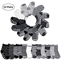 Yimaler 12-Pack Cotton Socks for Toddler Boys Girls Anti-Slip Ankle Socks for Baby Walkers Non-Skip Stretch Knit Stripes Star Assorted Cotton Socks with Grip for 16-36 Months Baby …
