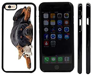 lintao diy Rikki KnightTM Rottweiler and Chihuahua Design iPhone 6 Case Cover (Black Rubber with front bumper protection) for Apple iPhone 6