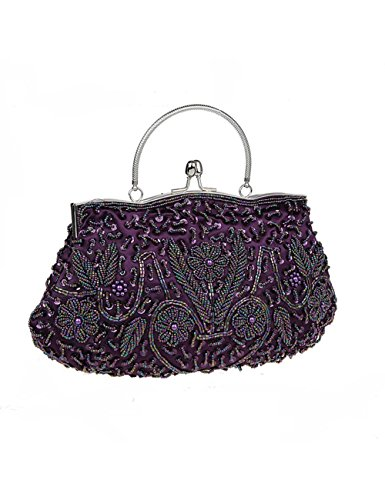 Style Women Purple Evening And Clutch Wedding TSRHFGT Handbag Bag Sequined Party Beaded Vintage Purse qgxz56dO