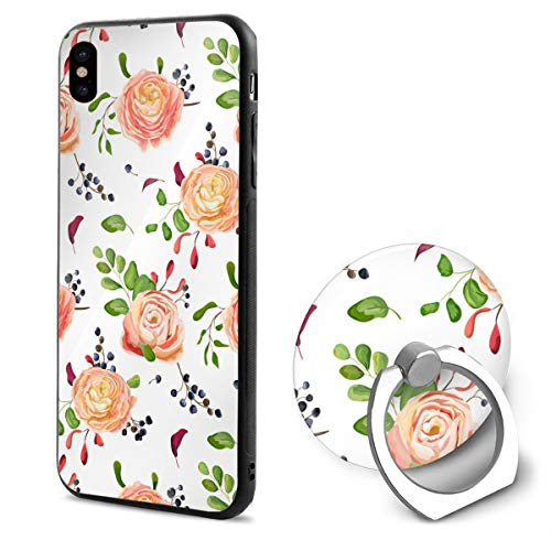 - iPhone X Case Pink Rose Grape Bunch 360 Degree Rotating Ring Kickstand Case Shockproof Anti-Scratch Impact Protection Function for iPhone X