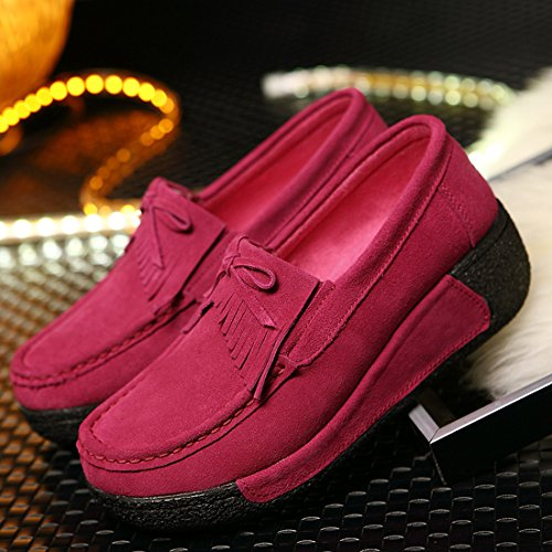 Z.SUO Women's Casual Comfortable Suede Loafers Wedge Thick Heel Pumps Shoes Rose Red.2 HabXn4xDdF