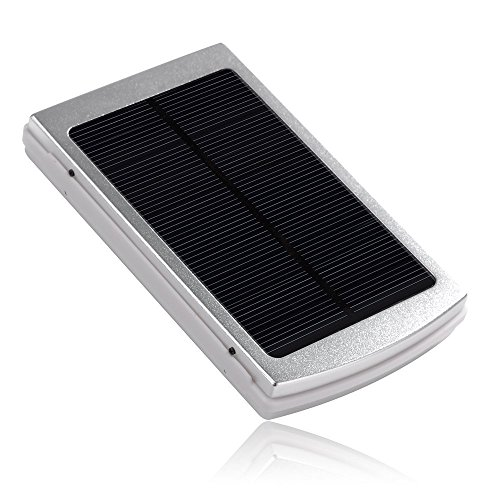 Cozyswan® Portable External Battery Charger 10000mAh Solar Power Panel Power Bank Pack Backup Charger for iPhone 5 5C 5S 4S 4 3GS iPod Samsung Galaxy S5 S4 S3 S2 Note 3 2 Nexus HTC One X One S Sensation G14 ThunderBolt Nokia N9 Lumia 920 900 Blackberr(silver)
