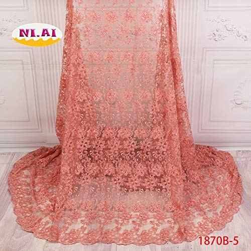Laliva Tulle French Lace Material, African Laces Tulle Lace Fabric 2018, Handmade Beaded Laces for Nigerian Party MR1870B - (Color: as picture2)