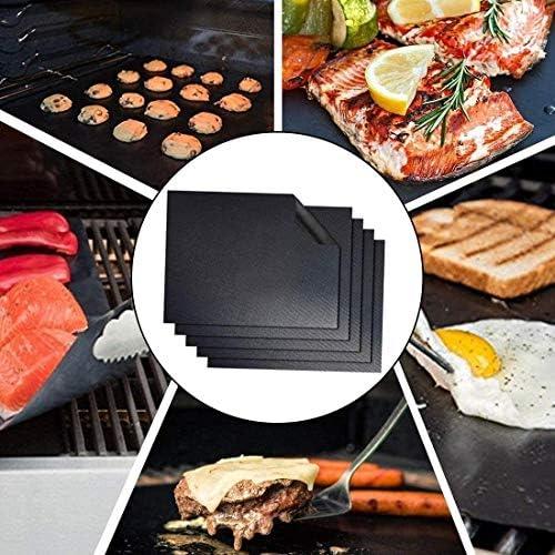 CRYX Tapis de Barbecue, Tapis de Barbecue, Tapis de Barbecue 5 Ensembles Tapis de Cuisson réutilisable antiadhésif Tapis de Barbecue Grill Facile à Nettoyer Barbecue