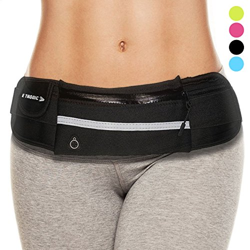 Waist Pack Best Running Belt Fanny Pouch Waistband Case Holds All Cell Phones Sports Fitness Holder Bag fits Women Men Jog Runners With Water Resistant Reflective Zipper Pocket All Waist - Running Gifts Womens