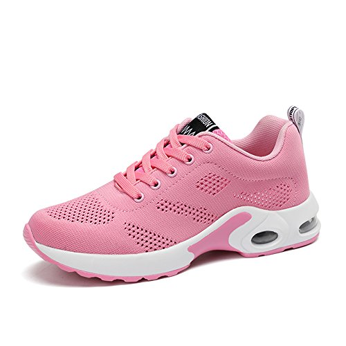 EnllerviiD Women Breathable Sneaker Mesh Lace up Toning Shoes Running Walking Pink £¨summer) jHY5ew5