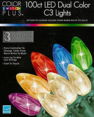 Color Switch Plus 100 Multi-Color & Clear 3 Function C3 LED Christmas Lights - Energy Star®