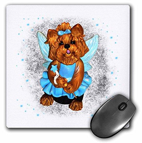 (3dRose Charlyn Woodruff - CW Designs Dog Art - Cute Blue Fairy Pixie Yorkie Yorkshire Terrier Dog Art - MousePad (mp_185555_1) )