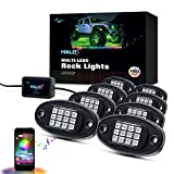 MICTUNING 8pcs RGBW Multi-LEDs Rock Lights Kit with Bluetooth Control, Music & Timing Function Multicolor Underbody Neon Light Pods