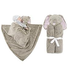 GudeHome Baby Boys Blanket Swaddling Infant Sleeping Bag Bathrobe Towel With Cute Animal Head 76x76cm (thick-Brown Rabbits)