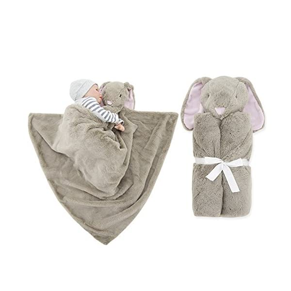 GudeHome Baby Boys Blanket Swaddling Infant Sleeping Bag Bathrobe Towel With Cute Animal Head 76x76cm (Thick-Brown Rabbits)