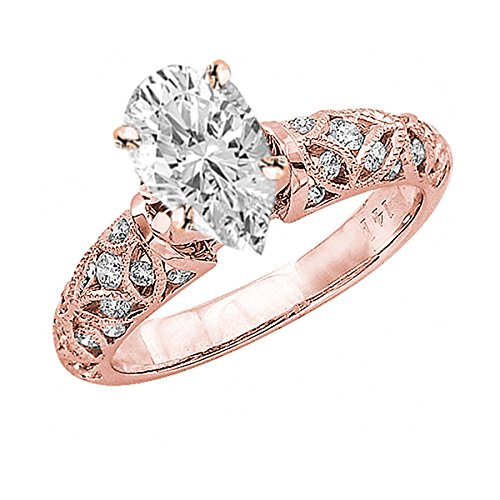 1 Carat 14K Rose Gold Vintage Style Channel Set Filigree Pear Shape Diamond Engagement Ring E Color SI2 Clarity Center Stones