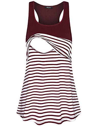 (Quinee Breastfeeding Tank Top for Women, Ladies Sleeveless Crewneck Patchwork Contrast Color Maternity Double Layer Pregnancy Loose Flowy Shirts Nursing Cami Relaxed Fit Red Stripe S)