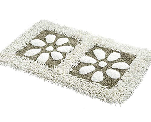 ZebraSmile Washable Flower Pattern Chenille Bath Rug Heavy Home Entrance Doorway Entry Doormat Entryway Door Mat Carpet for Bedroom Indoor Non Slip Back Bathroom Rug White(17.7 X 27.5IN/45 X 70 cm) (Rug Weave Flower)