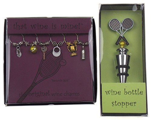 Tennis Ace Wine Charms & Tennis Racket Bottle Stopper Bundle -