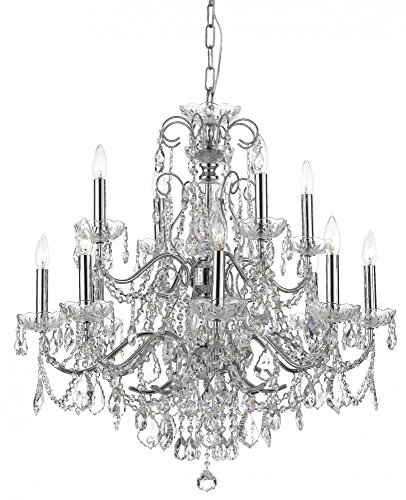 Polished Chrome / Hand Polished Imperial 12 Light Candle Style Crystal Chandelier - Imperial Crystal Twelve Light