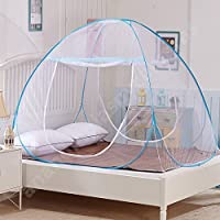 Anva Polyester Foldable Double Bed Mosquito Net King/Queen Size (Blue)