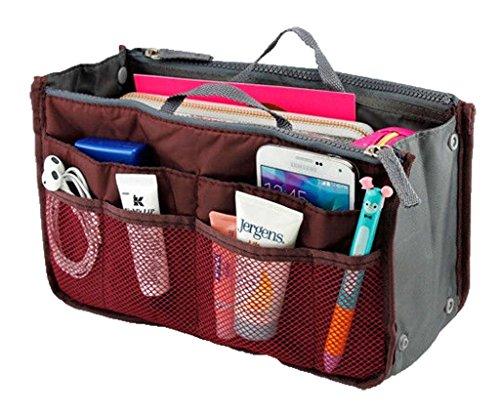 Lady Women Travel Insert Handbag Organiser Purse Large Liner Organizer Tidy Bag-Red (5 Purse)