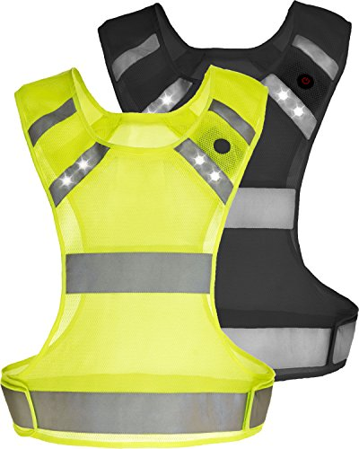 Reflective Running Vest With LED Lights - Night Safety Gear for Men & Women - Runner Walker Cyclist (Yellow, Small)