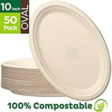 "100% Compostable Oval Paper Plates [10 inch - 50-Pack] Elegant Disposable Dinner Platter Heavy-Duty Quality, Natural Bagasse Unbleached Eco-Friendly Made of Sugar Cane Fibers, [10"" x 7.5"" Platter]"